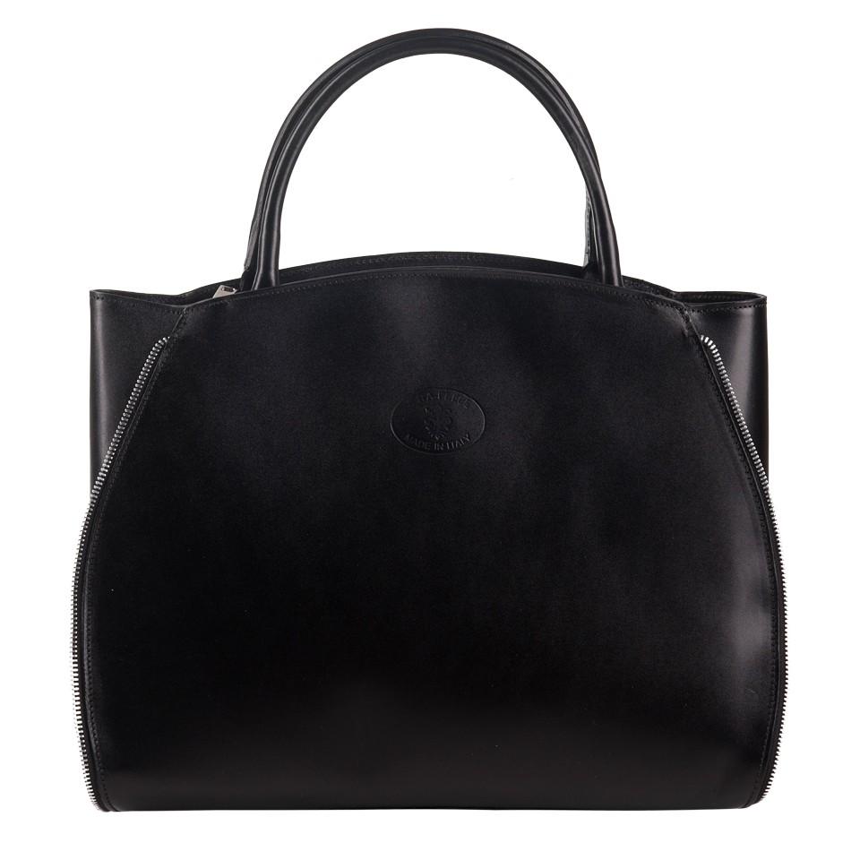 a03664ba41cb9 Vera Pelle - Włoska elegancka torebka skórzana A4 czarna (1268)