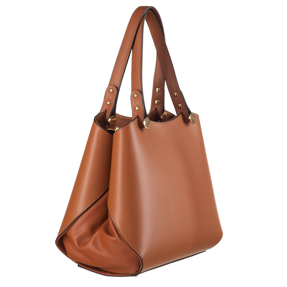 5403a68c30e01 Vera Pelle - Włoska elegancka torebka kuferek matowa skóra camel (3533)