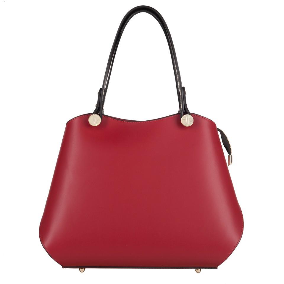 45d8b6a8d93e3 Vera Pelle - Włoska elegancka torebka kuferek matowa skóra czerwona+ ...