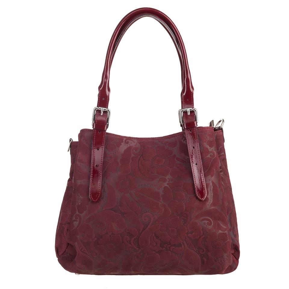 dcb8c0edb483f Włoska skórzana elegancka torebka kuferek tłoczona bordowa (3591)