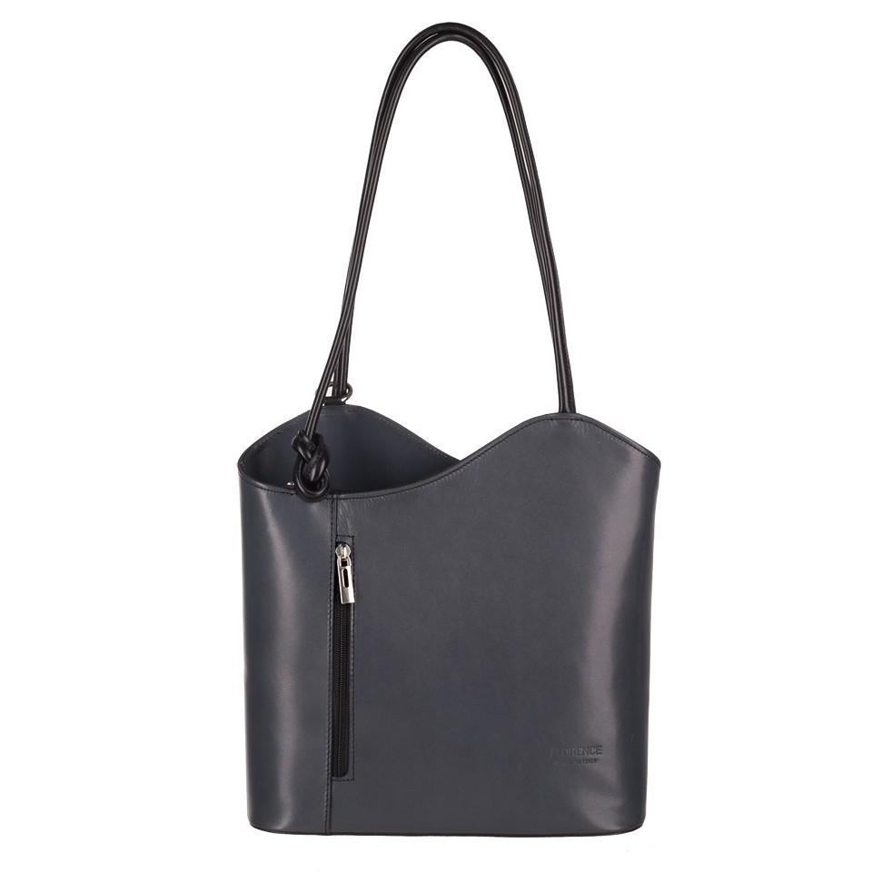 ede5475d57d19 Florence - Skórzana włoska torebka plecak 2w1 grafit+czarny (3724)