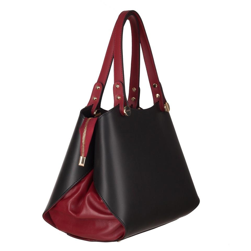 3ddfa91fe110f Vera Pelle - Włoska elegancka torebka kuferek matowa skóra czarna+ ...