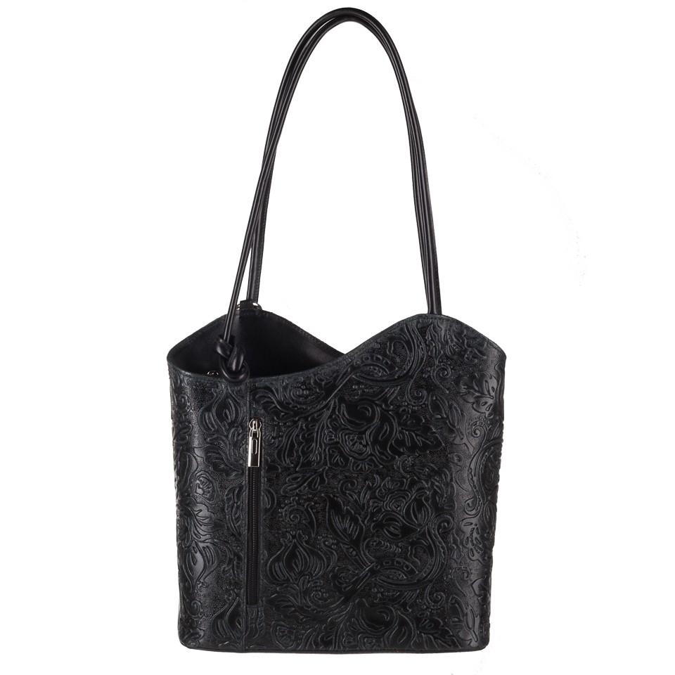 16c18f626374e Florence - Skórzana włoska torebka plecak 2w1 tłoczona skóra czarna ...