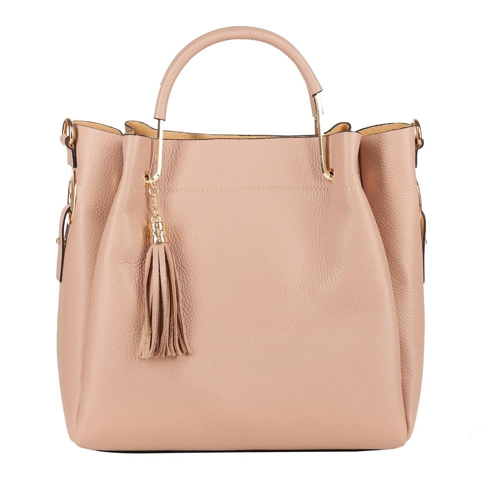 1c4e0521c4632 Włoska elegancka torebka kuferek z frędzlami skóra różowa (4291)