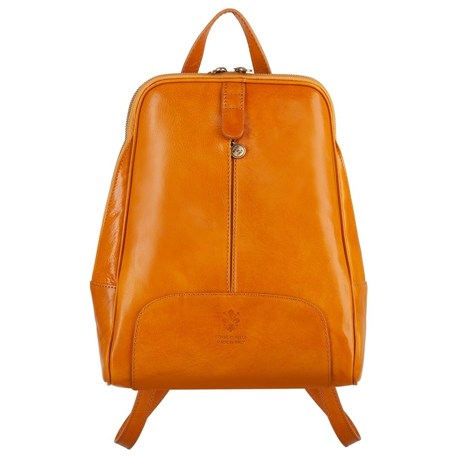 87419c4d39fb5 Włoski skórzany plecak żółty (4737)
