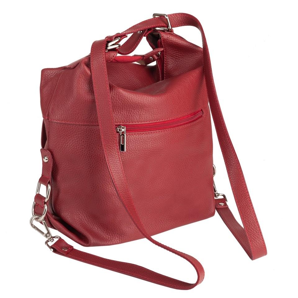 e305561643d8c Włoska skórzana torebka - plecak 2w1 czerwona (4799) - Damskie
