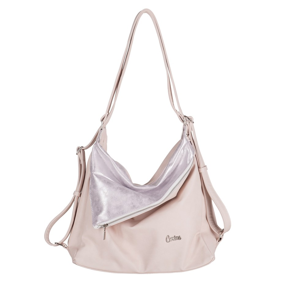 dfb2b4eb79fdd Carine - Torebka eko skóra 2w1 worek-plecak pudrowy różowy (E0001)
