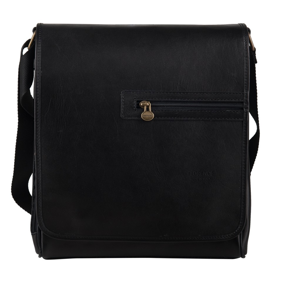 ca3f4b41e1160 Florence - Męska duża skórzana torba listonoszka na ramię czarna (T383)