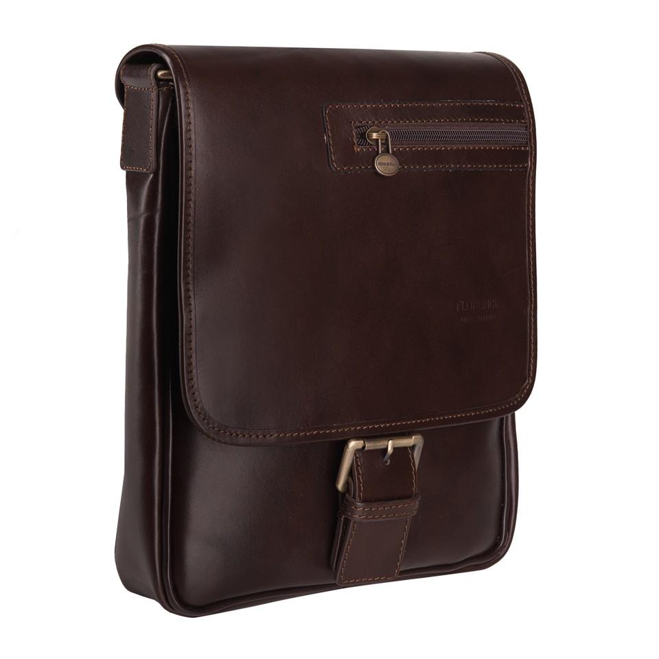 b98a11a6055c2 Florence - Męska mała skórzana torba na ramię ciemny brąz (T280)