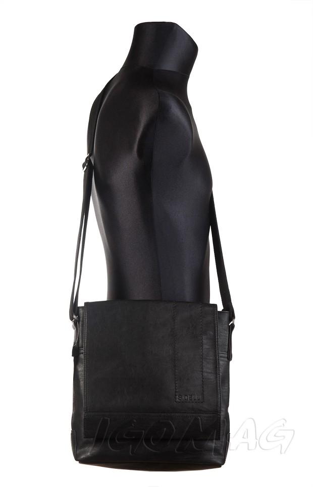 200bb0a298c59 S.Delli - Męska duża torba listonoszka na ramię czarna A4 (SD060-1)