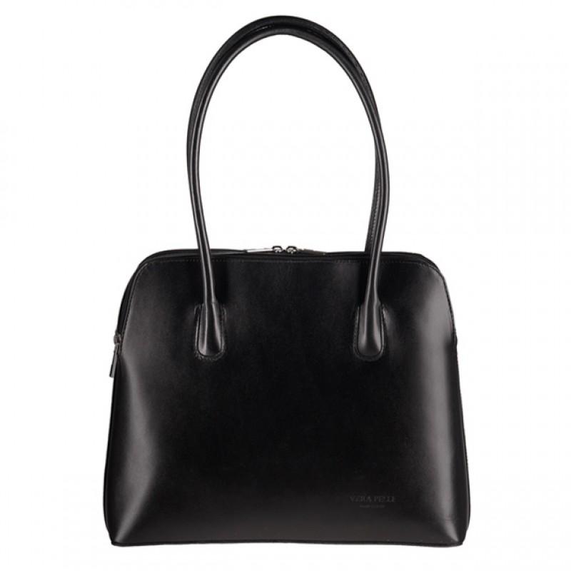 7c217917faf5a Vera Pelle - Elegancka włoska torebka skórzana A4 czarna (0474)