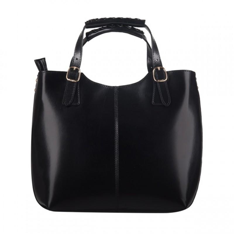 50cf0d1be22f0 Włoska skórzana torebka shopper bag złote okucia A4 czarna (0932 ...