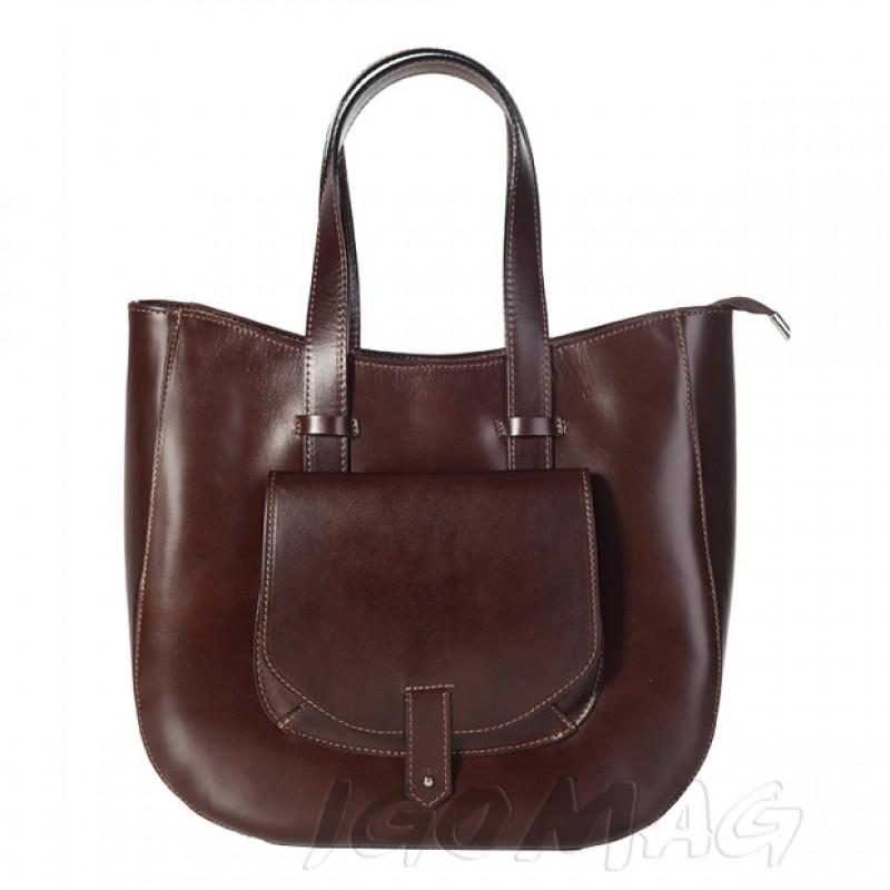 b0d4959dc38d6 Włoska skórzana torebka typu shopper bag A4 ciemny brąz (1317)