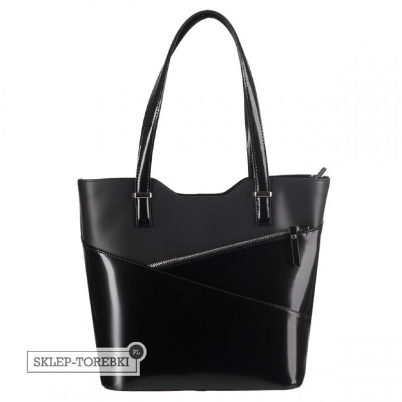 e9c87604925ce Włoska klasyczna torebka skóra lakierowana czarna (2496)