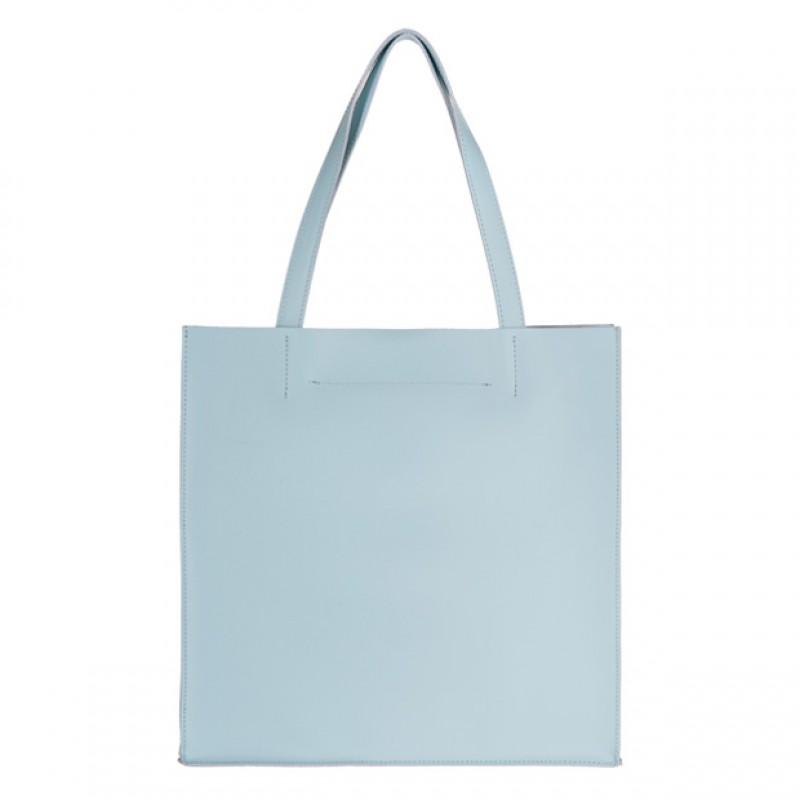 7a872267ba1ce Włoska duża torebka shopper bag matowa skóra błękitna (2600)