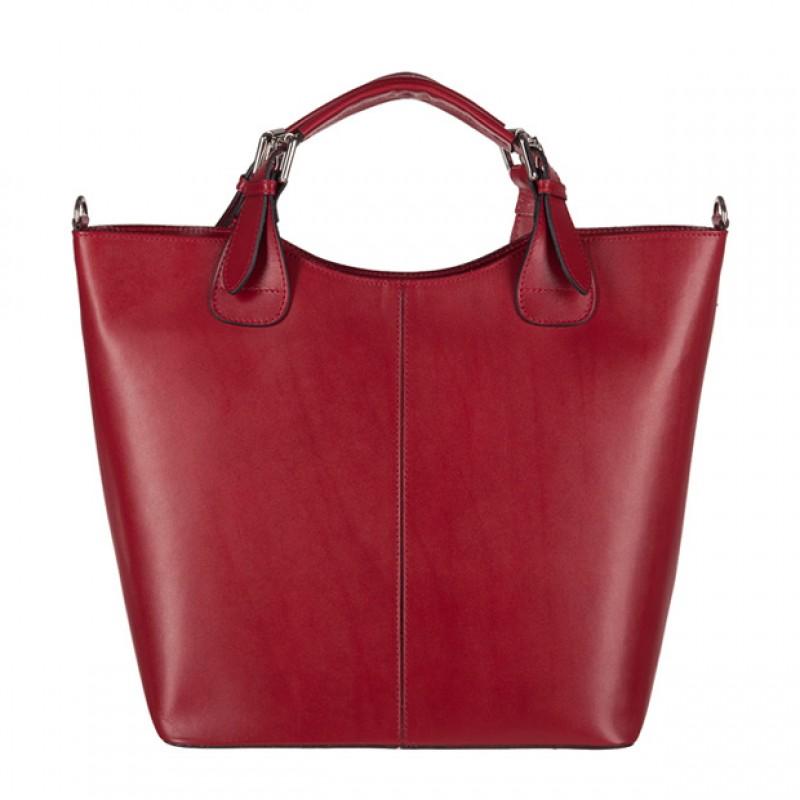 Włoska skórzana torebka typu shopper bag A4 bordowa (3088)