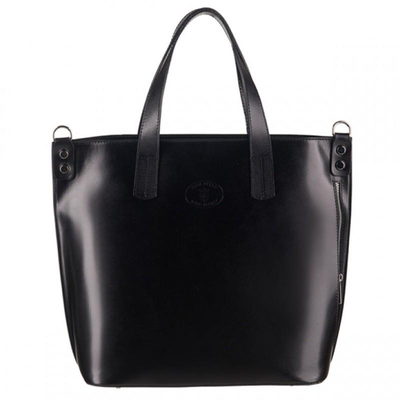 865952a0818e4 Vera Pelle - Włoska duża klasyczna torebka skórzana A4 czarna (3096)