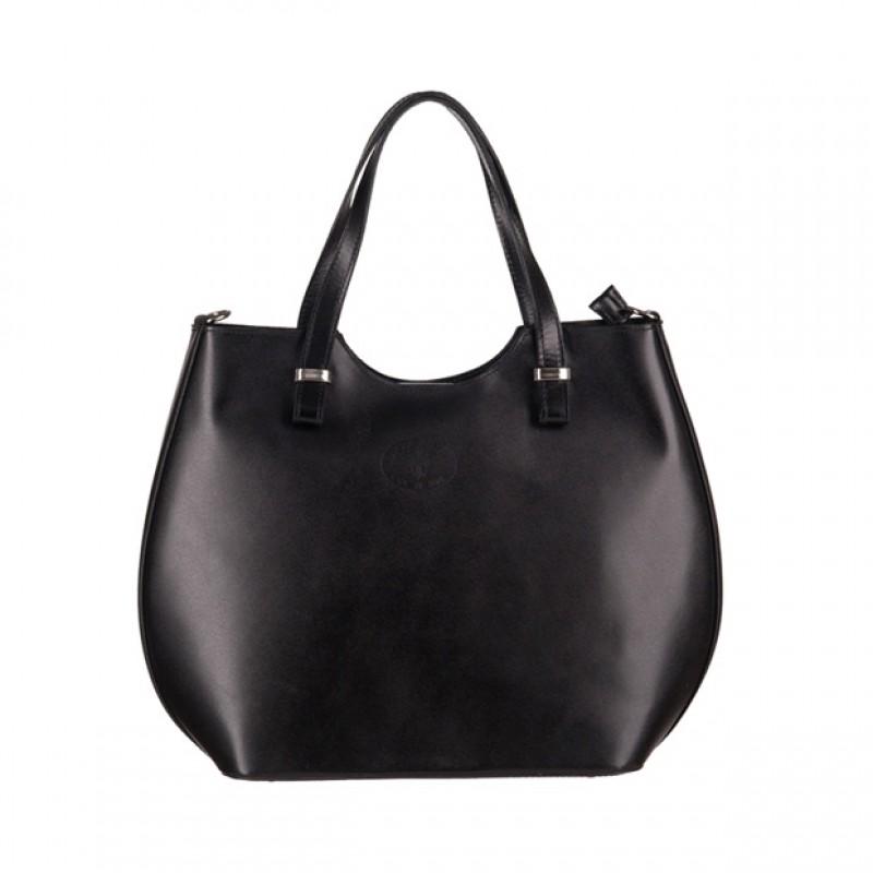 8fc62105dfd56 Włoska torebka shopper bag gładka skóra srebrne okucia czarna (3158 ...