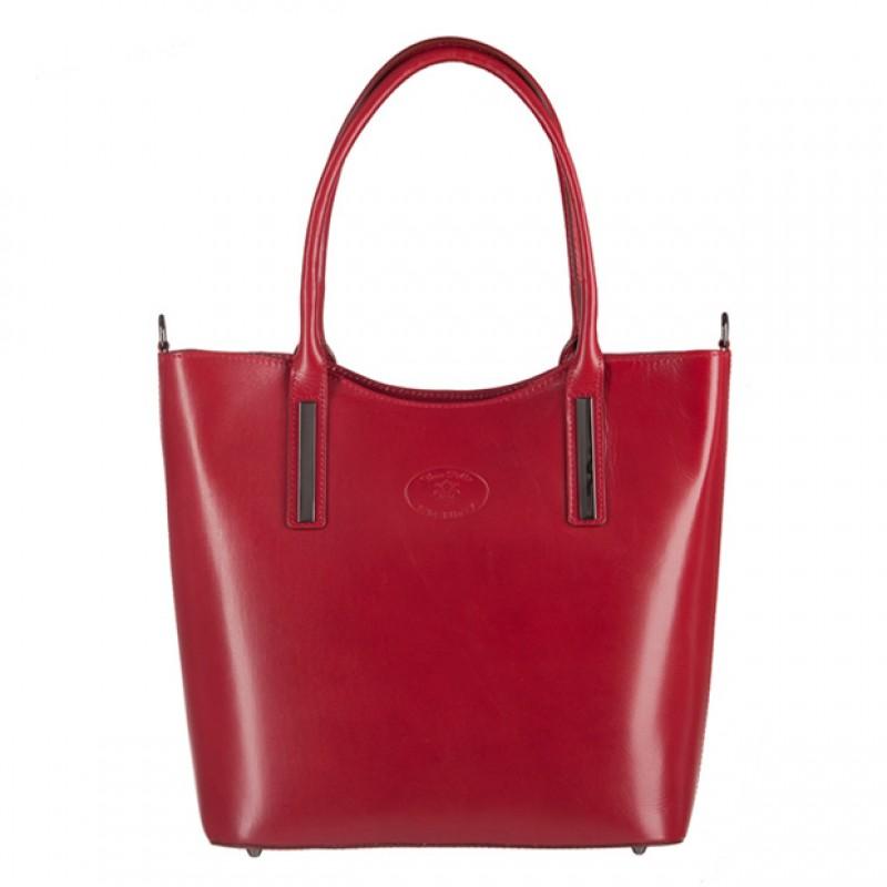 7483f4d85233a Vera Pelle - Włoska klasyczna torebka skórzana bordowa (3166)