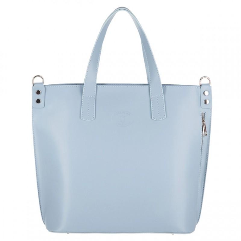 a0b0a9b0453c3 Vera Pelle - Włoska duża klasyczna torebka A4 matowa skóra błękitna ...