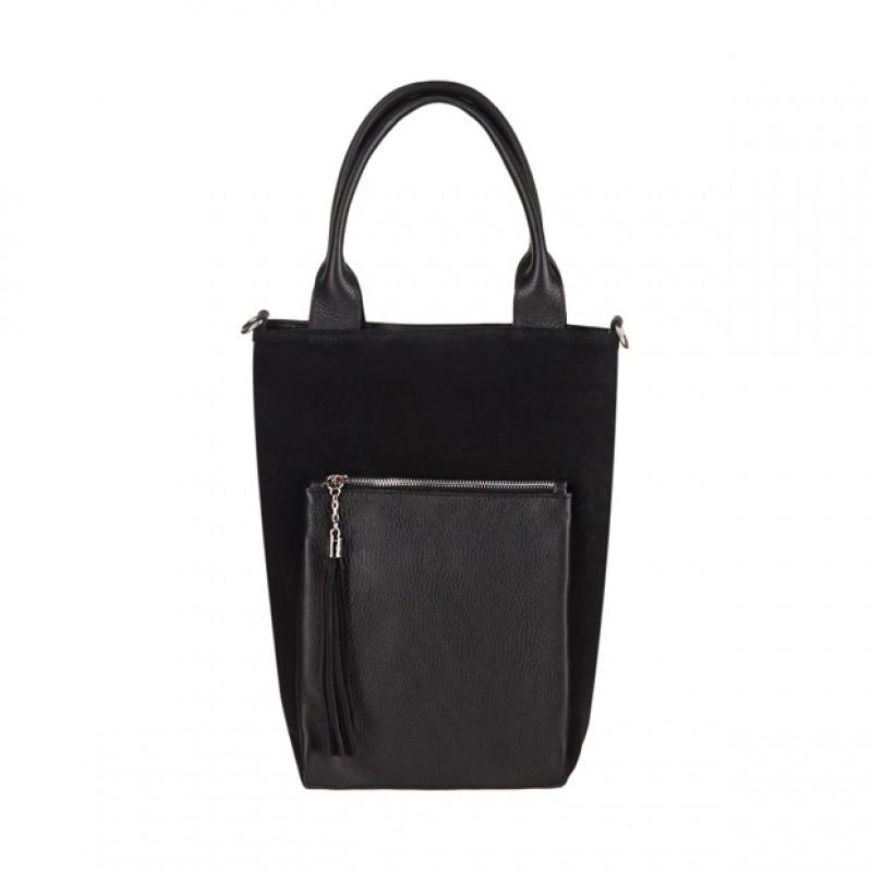 43e97abd204d4 Włoska mała torebka worek z frędzlami zamsz+skóra czarna (3799)