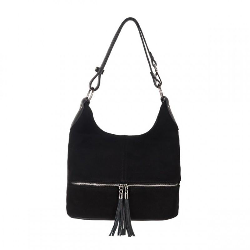 562d75c89a6b1 Włoska zamszowa torebka worek z zamkami i frędzlami czarna (3835 ...