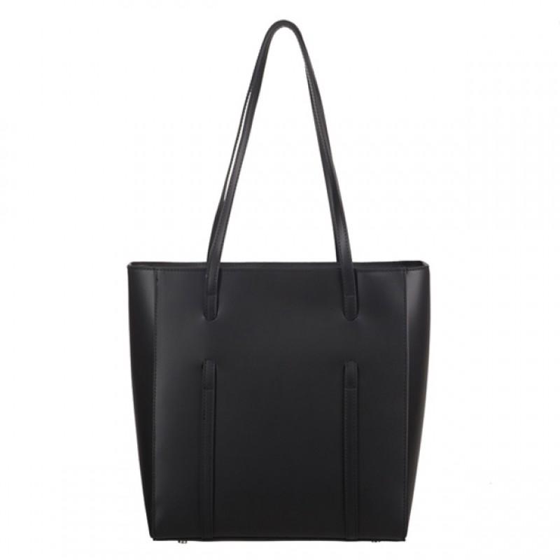 8975319308721 Włoska klasyczna torebka matowa skóra czarna (3924)