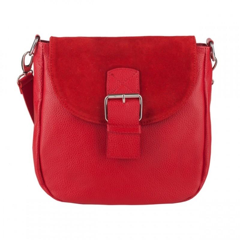d0810156a4588 Włoska duża skórzana torebka listonoszka z klapką czerwona (4017)
