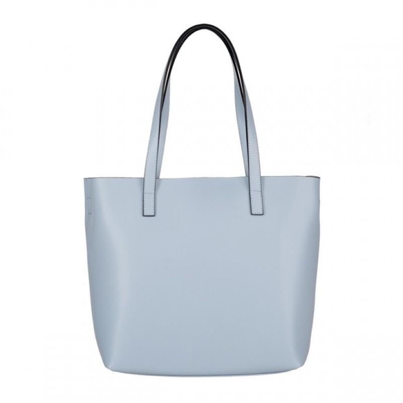 6ba3701f62476 Włoska skórzana torebka shopper bag błękitna (4065)