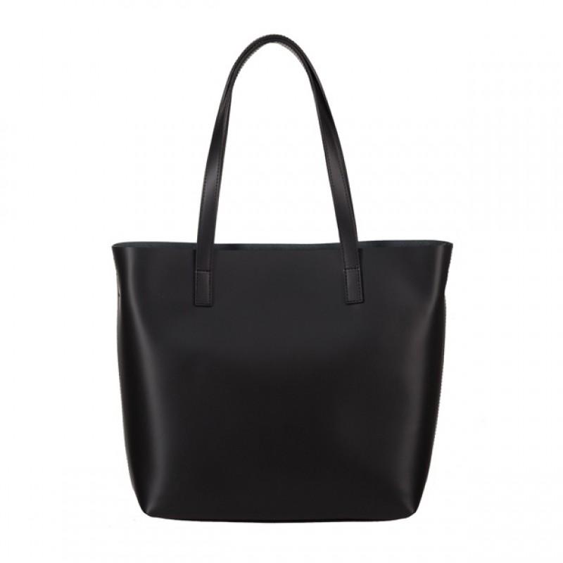 96c0870df992c Włoska skórzana torebka shopper bag czarna (4069)