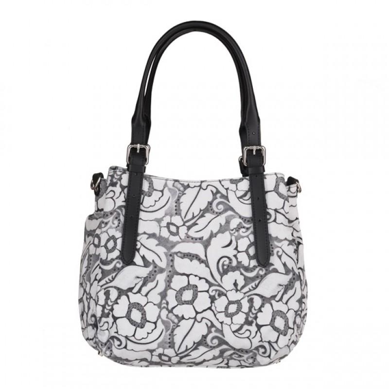 29061e5edc90f Włoska skórzana elegancka torebka kuferek tłoczona biała+czarny (4086)