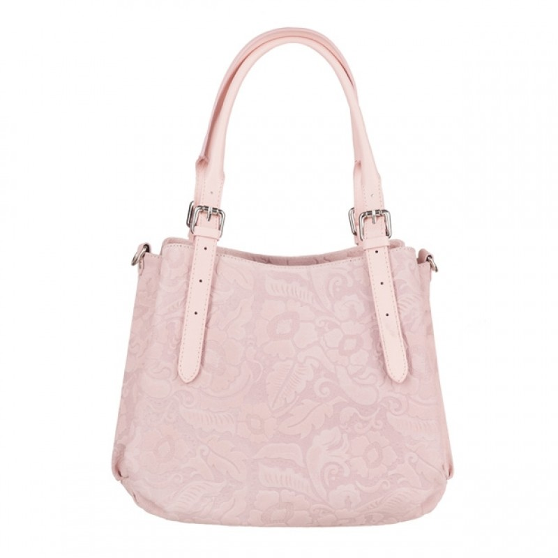 006456eb75d52 Włoska skórzana elegancka torebka kuferek tłoczona różowa (4087)