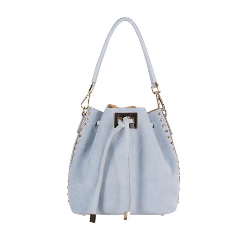 b2463bcbfaa95 Włoska torebka mały worek zamsz dżety błękitna (4162) - Torebki ...