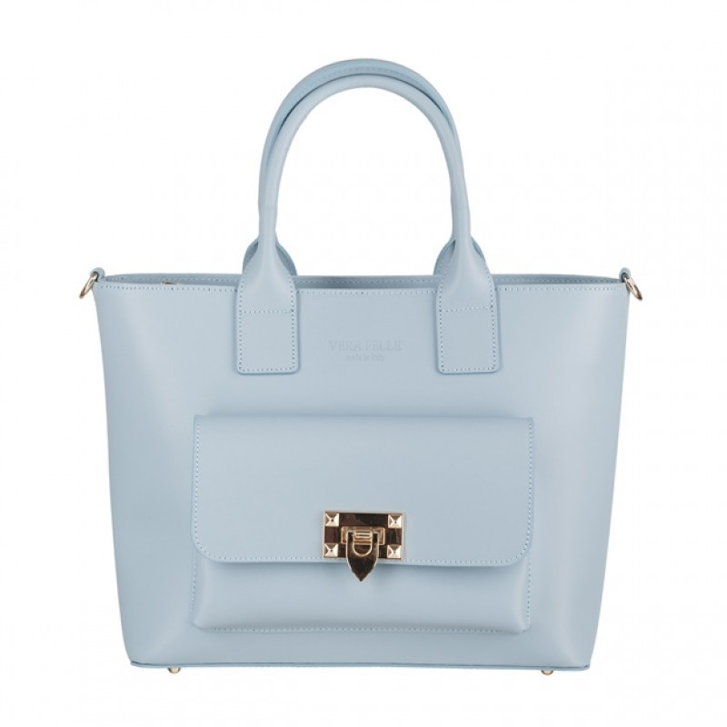 62a14689a8e36 Vera Pelle - Włoska elegancka torebka kuferek z kieszonką matowa ...