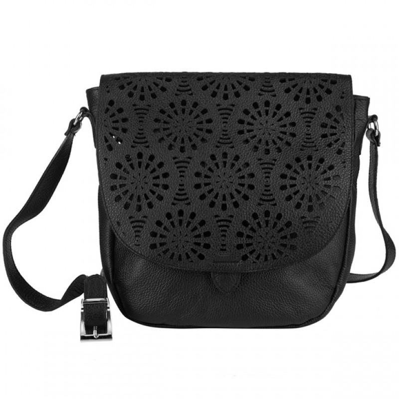 Skórzana czarna torebka listonoszka z klapką
