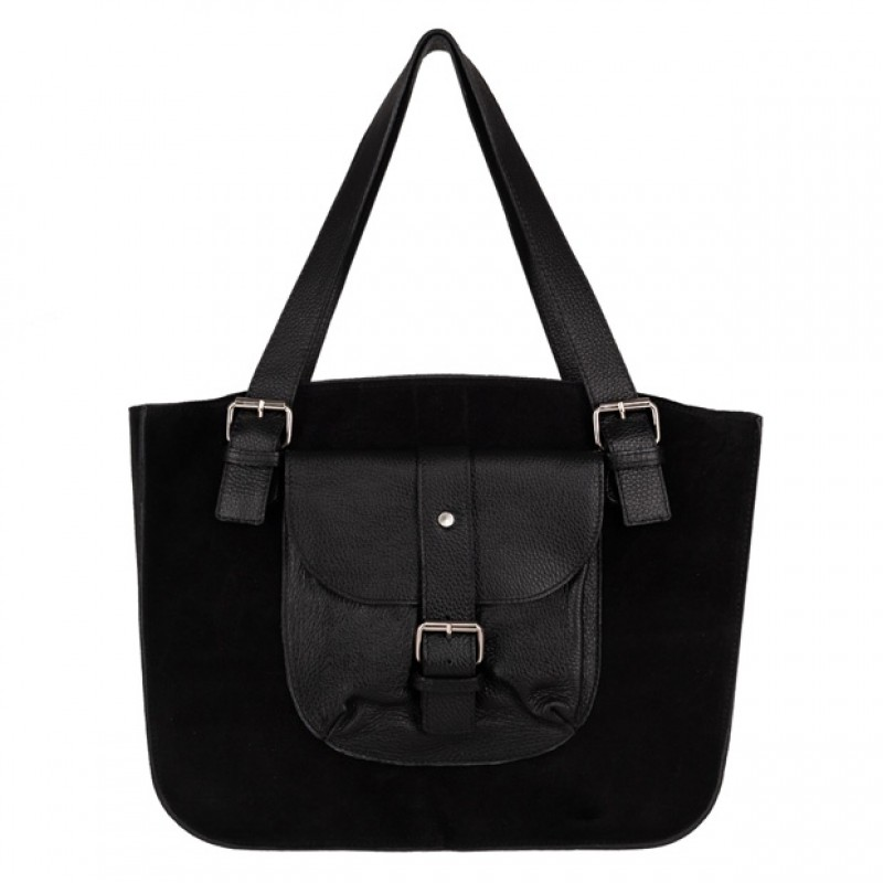 809ed3216c526 Włoska duża torebka shopper bag A4 zamsz+skóra czarna (4506)