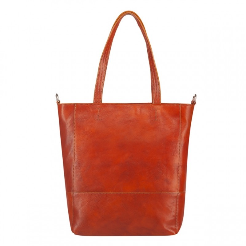 Włoska duża skórzana torebka shopper bag A4 camel (4594)