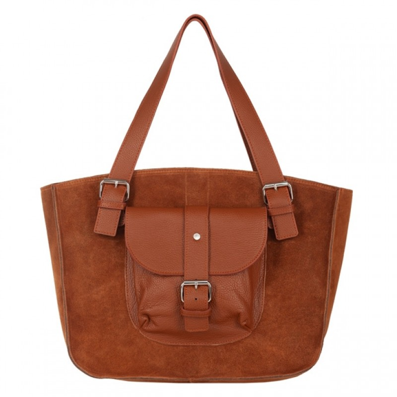 360439cb37fb0 Włoska duża torebka shopper bag A4 zamsz+skóra brązowa (4629)