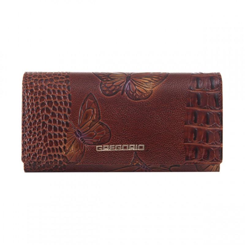 7a4a26d2e0e43 Gregorio - Skórzany duży damski portfel lakierowany motyle brązowy ...