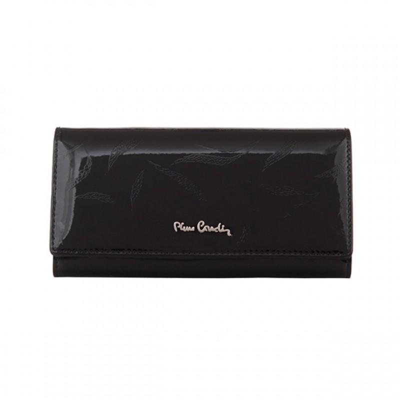 6474f048b53e9 Pierre Cardin - Skórzany duży damski portfel lakierowany liście ...