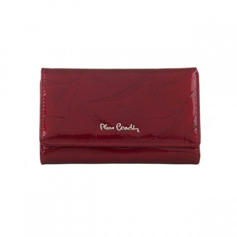 120c72c4c5dec Pierre Cardin - Skórzany damski portfel lakierowany liście czerwony ...