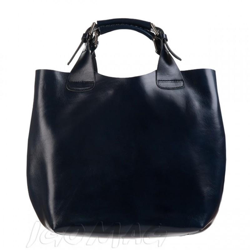 3168b41a6914 Stylowa skórzana torebka typu shopper bag A4 granatowa (0776)