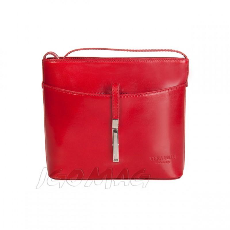 4c3b687eaa914 Vera Pelle - Włoska listonoszka skórzana czerwona (1020)