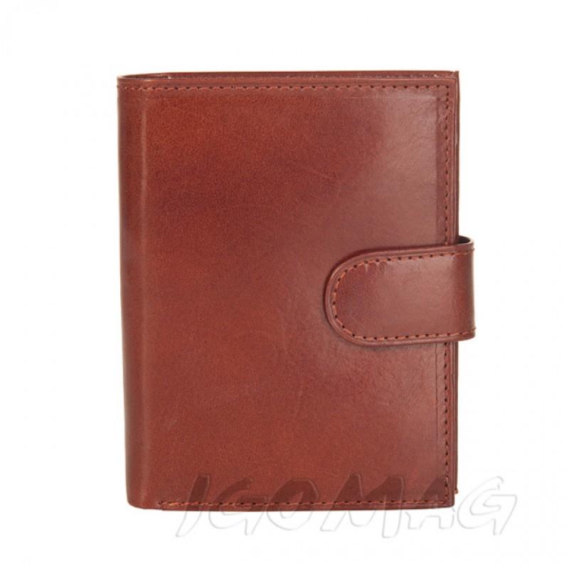 21564d512d3bd Vera Pelle - Włoski skórzany męski portfel z klipsem brązowy (P039)