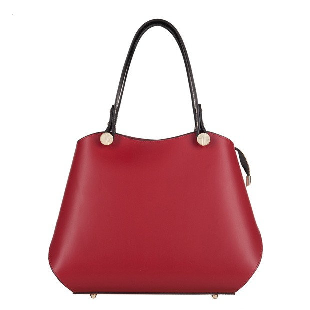 1dc0afcc4f482 Vera Pelle - Włoska elegancka torebka kuferek matowa skóra czerwona+czarny  (3534)
