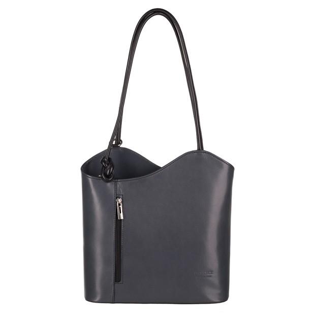 195673f69b5d8 Florence - Skórzana włoska torebka plecak 2w1 grafit+czarny (3724)