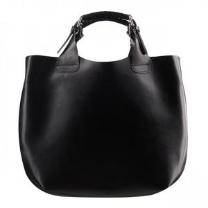 Stylowa skórzana torebka typu shopper bag A4 czarna (0612)