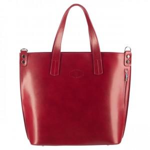 Vera Pelle -  Włoska duża klasyczna torebka skórzana A4 bordowa (3095)