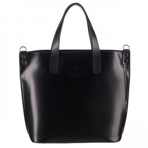 Vera Pell-Włoska duża klasyczna torebka skórzana A4 czarna (3096)