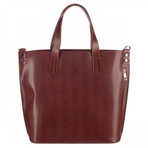 Vera Pelle -  Włoska duża klasyczna torebka skórzana A4 brązowa (3100)